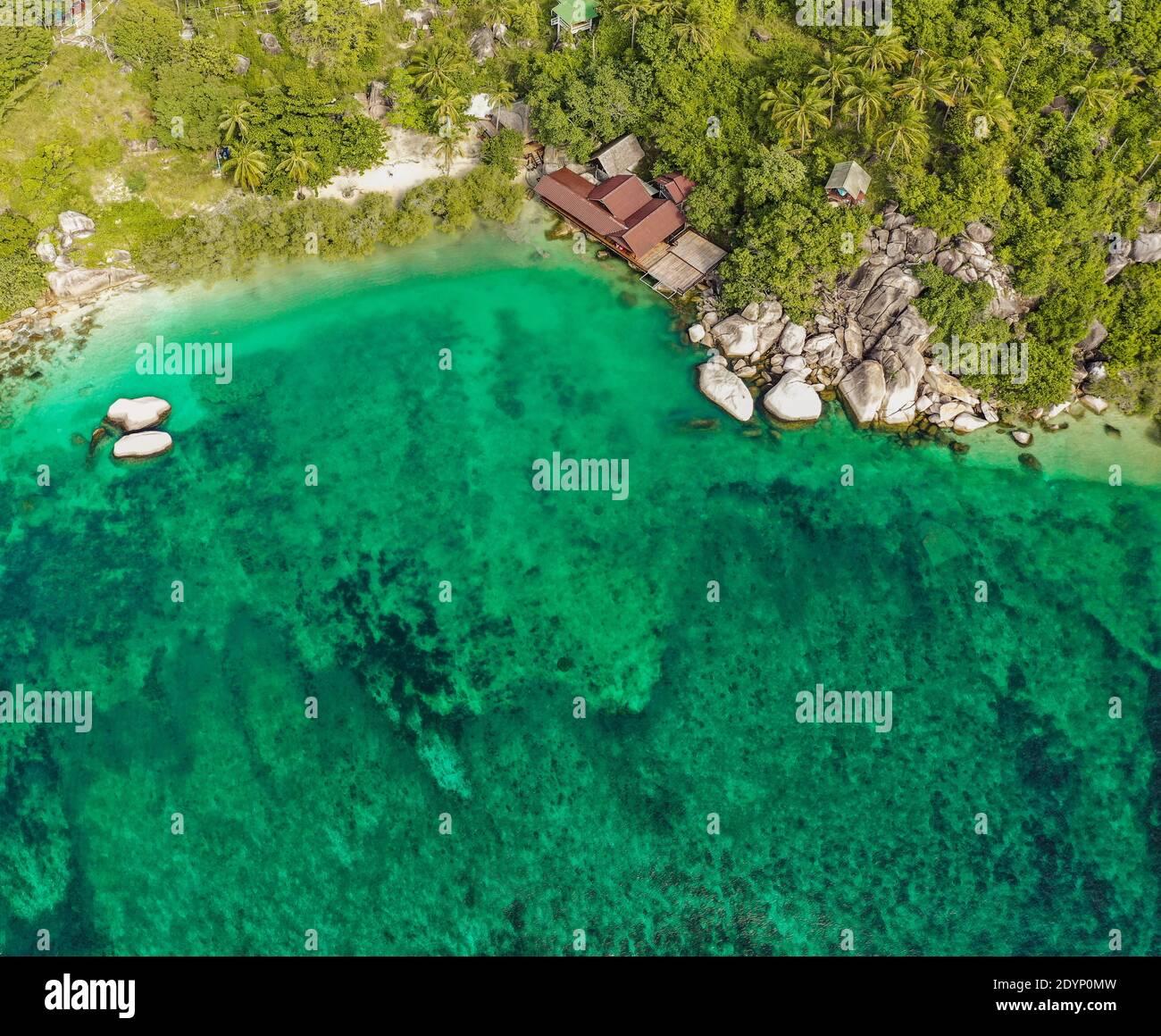 Vista aérea de Koh Tao, provincia de Samui, Tailandia, sudeste de Asia Foto de stock