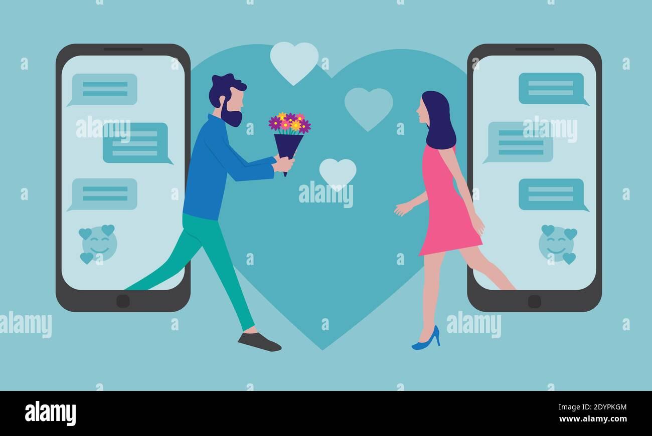 concepto de citas en línea - hombre y mujer reunión después de en línea mensajería Ilustración del Vector