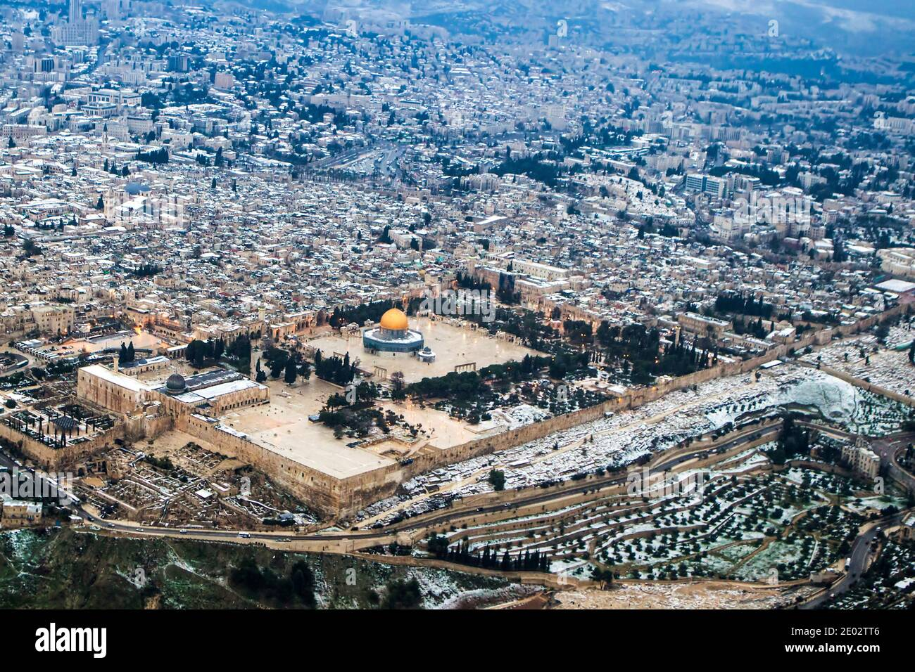 Vista aérea de la cúpula de la Roca, del Monte del Templo de Jerusalén, Ciudad Vieja Foto de stock