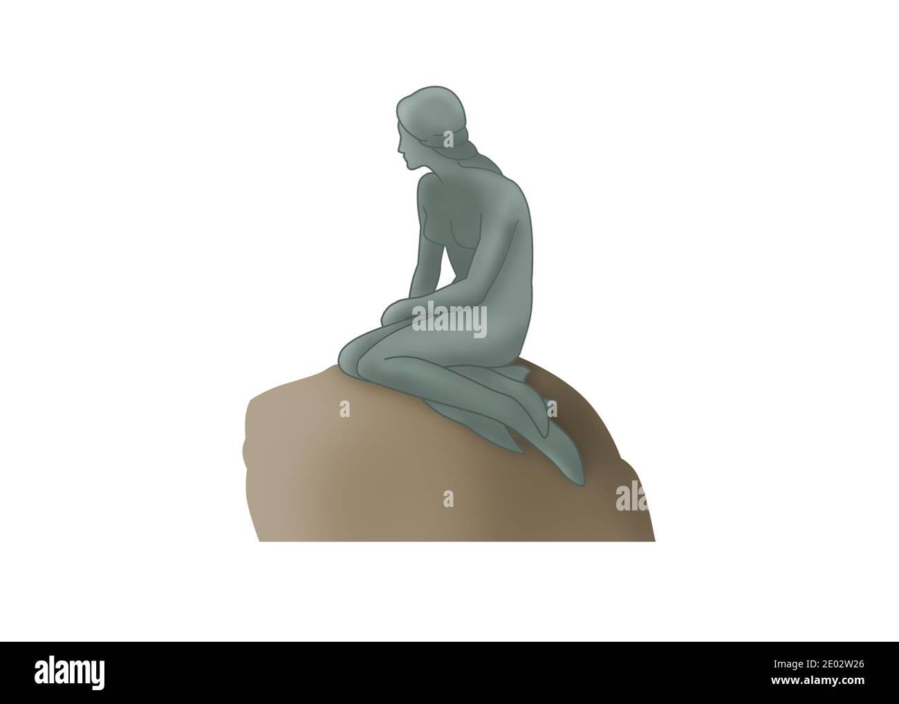 Una estatua de la Sirenita de bronce sentada en la roca y mirando al mar en el paseo marítimo de Langelinie en Copenhague, Dinamarca Foto de stock