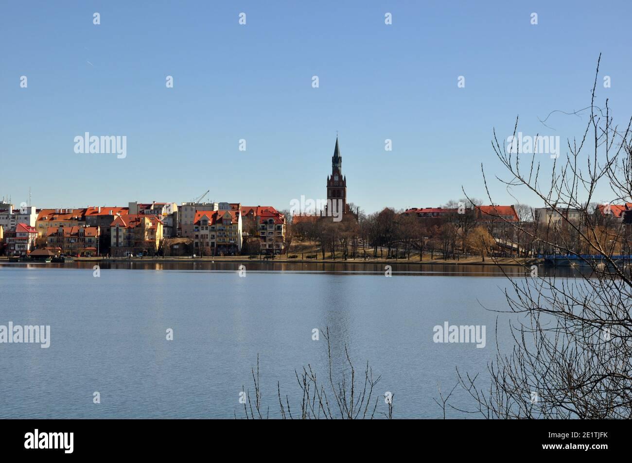 Vista panorámica de la ciudad de Ełk en el Distrito de los Lagos de Masuria en Polonia. Foto de stock