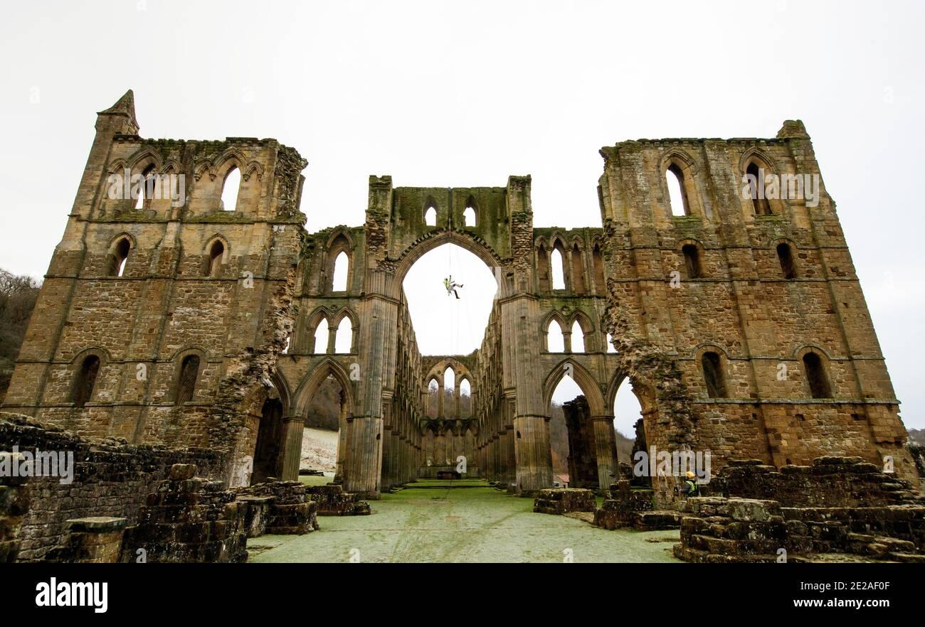Stoneemason James Preston de SSH Conservation, abseils de Rievaulx Abbey en North Yorkshire como el Patrimonio Inglés se prepara para llevar a cabo un trabajo vital de conservación. El Patrimonio Inglés comisiona una encuesta en la Abadía de Rievaulx en un ciclo de cinco años para evaluar la condición de la abadía desde el nivel del suelo hasta la parte superior de la estructura. Foto de stock