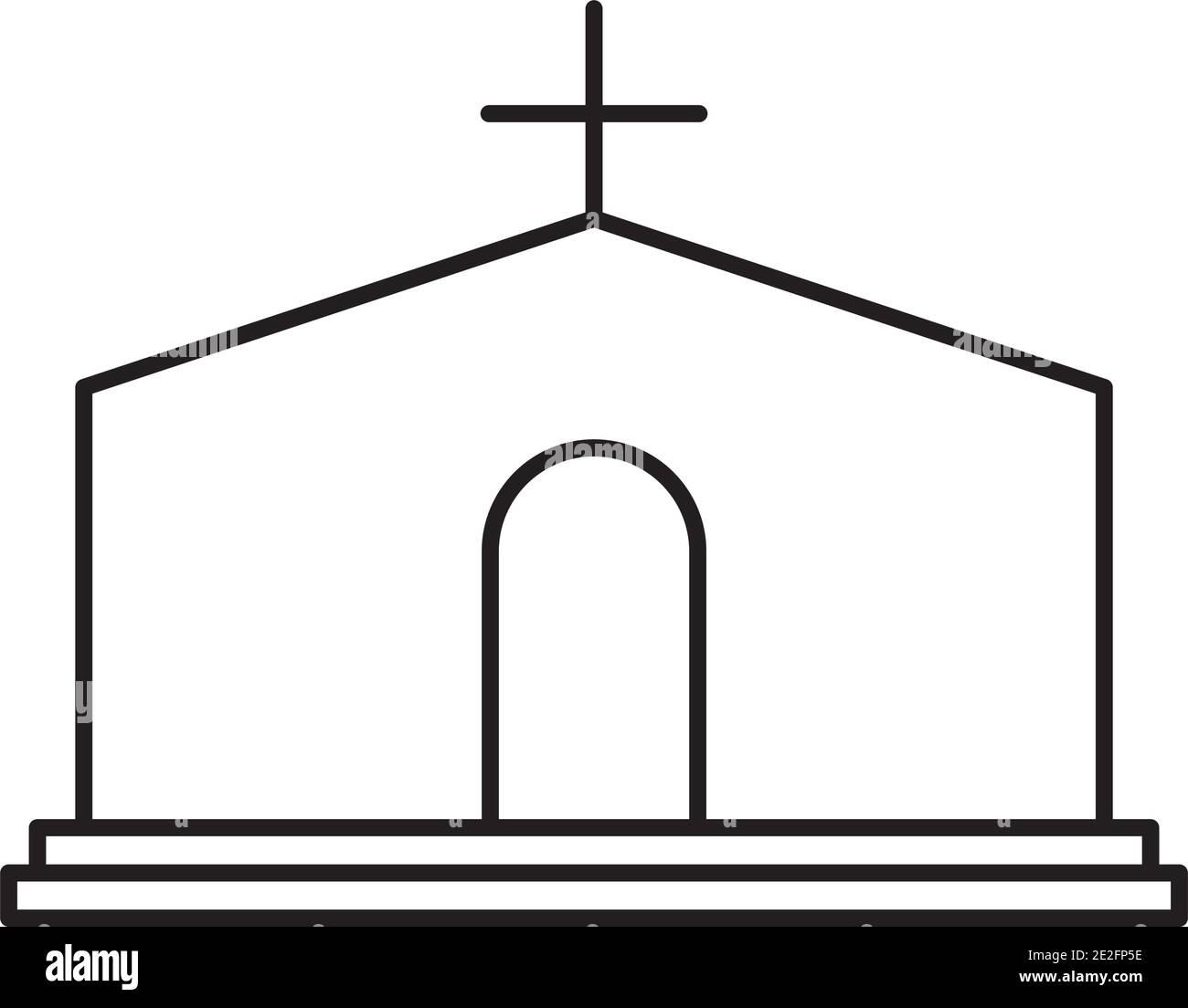 iglesia edificio icono sobre fondo blanco, estilo de línea, ilustración vectorial Ilustración del Vector