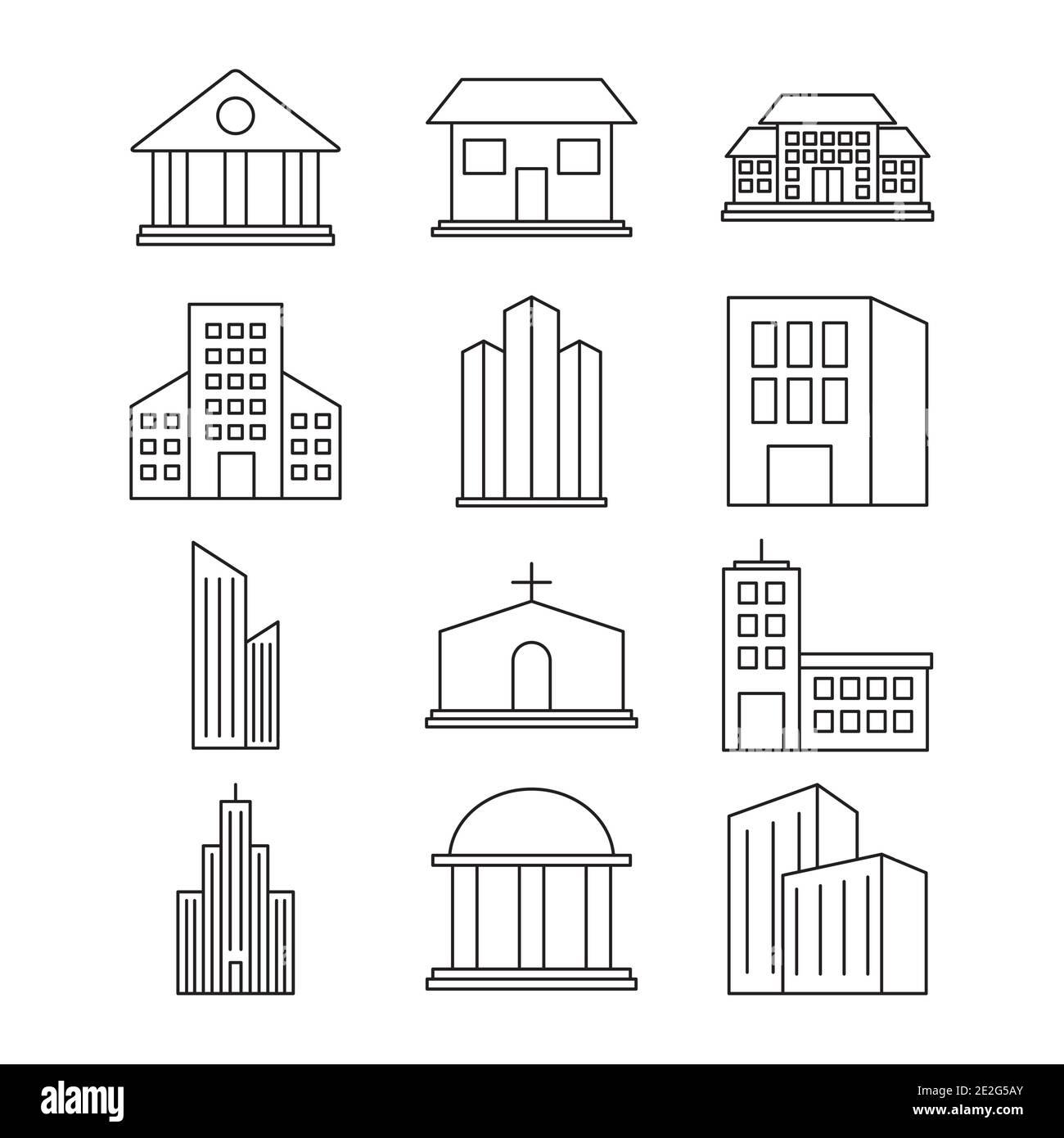conjunto de iconos de edificios de la ciudad sobre fondo blanco, estilo de línea, ilustración vectorial Ilustración del Vector