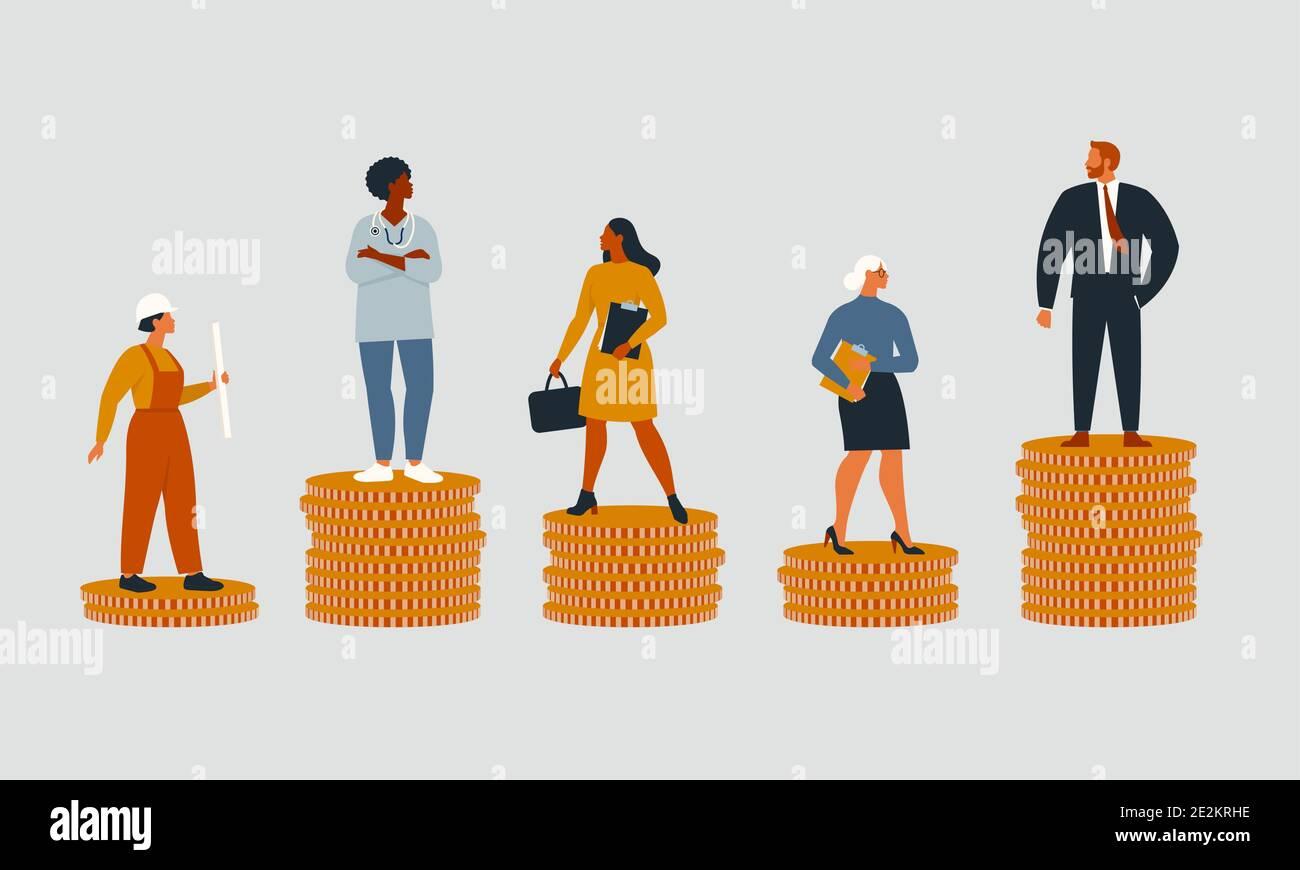 Las personas ricas y pobres con diferentes salarios, ingresos o crecimiento de la carrera oportunidades injustas. Concepto de desigualdad financiera o brecha en la ganancia. Vector plano Ilustración del Vector