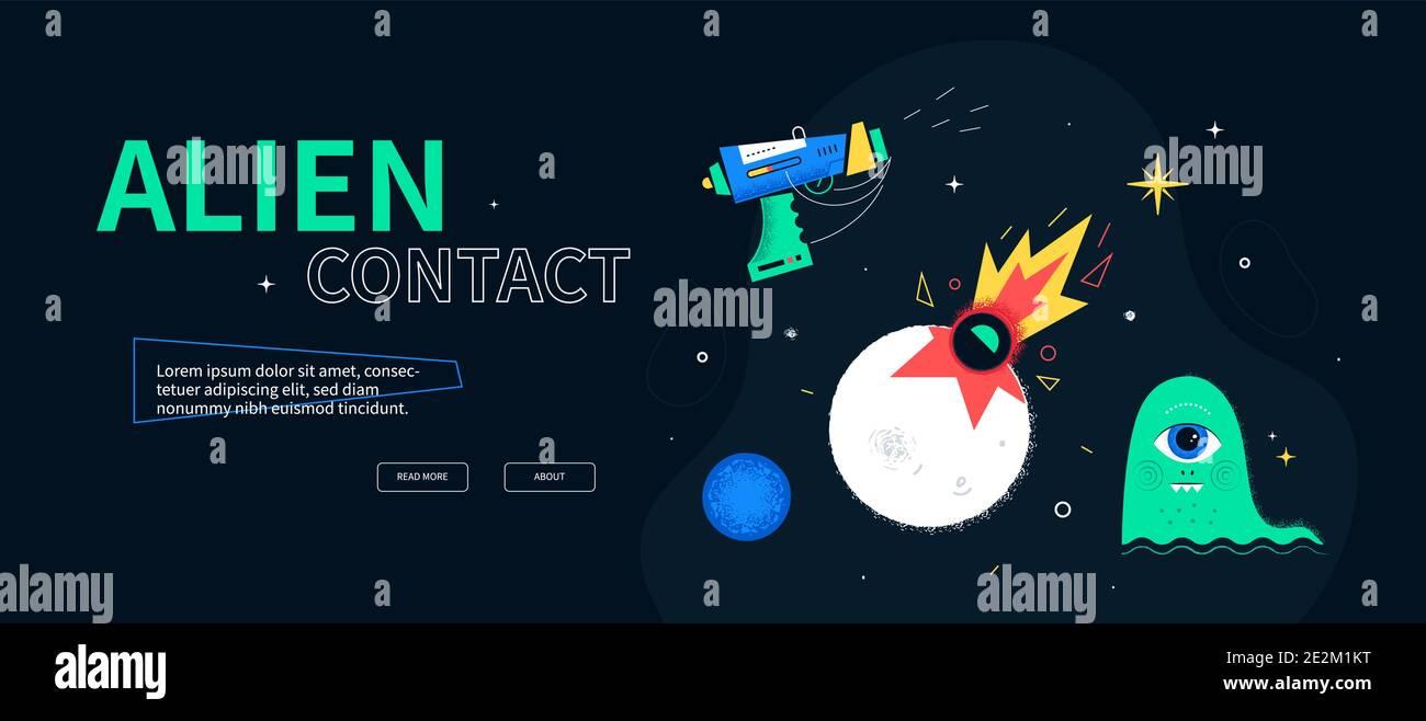 Alien contact - banner web de estilo de diseño plano y colorido con lugar para texto. Una ilustración con un blaster, el impacto, la criatura y el planeta Neptuno. Infini Ilustración del Vector