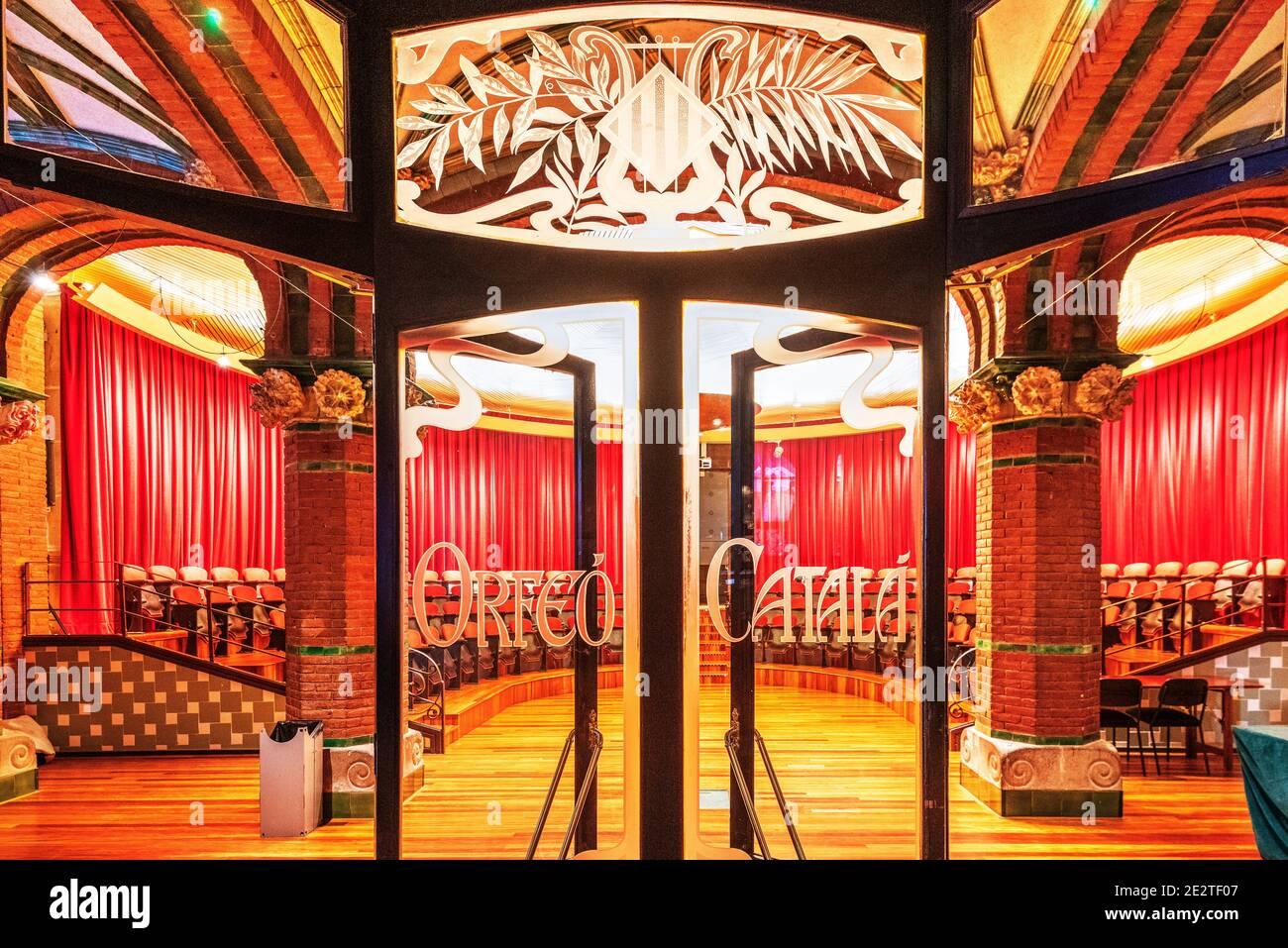 Sala de conciertos Orfeo Catala, Sala de conciertos Palacio de Música Catalana, Barcelona, Cataluña, España Foto de stock