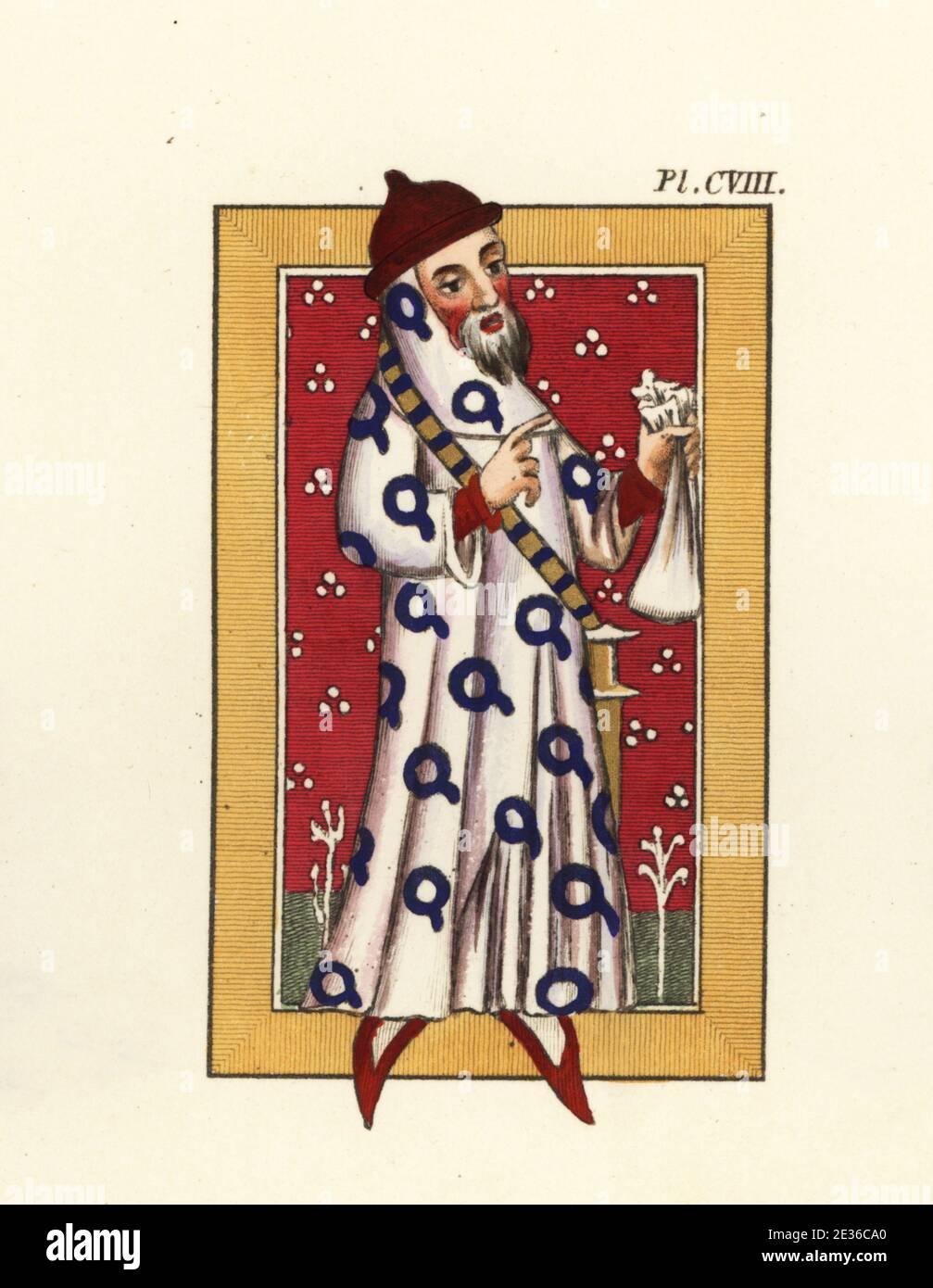 Sir Neil Loring (Nigel Lorringe), soldado y diplomático inglés medieval y miembro fundador de la Orden de la Garter, c. 1320-1386. Hombre viejo en gorra roja y zapatos, bata blanca decorada con garters azules, sosteniendo un bolso. Del Libro de Oro de San Albans, algodón MS Nero D vii, f. Grabado de color a mano de Joseph Strutt desde su visión completa del vestido y los hábitos del pueblo de Inglaterra, Henry Bohn, Londres, 1842. Foto de stock