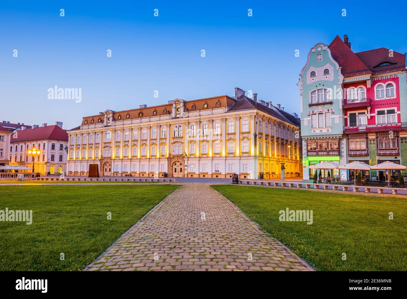 Timisoara, Rumania. Union Square, región histórica de Banat. Foto de stock