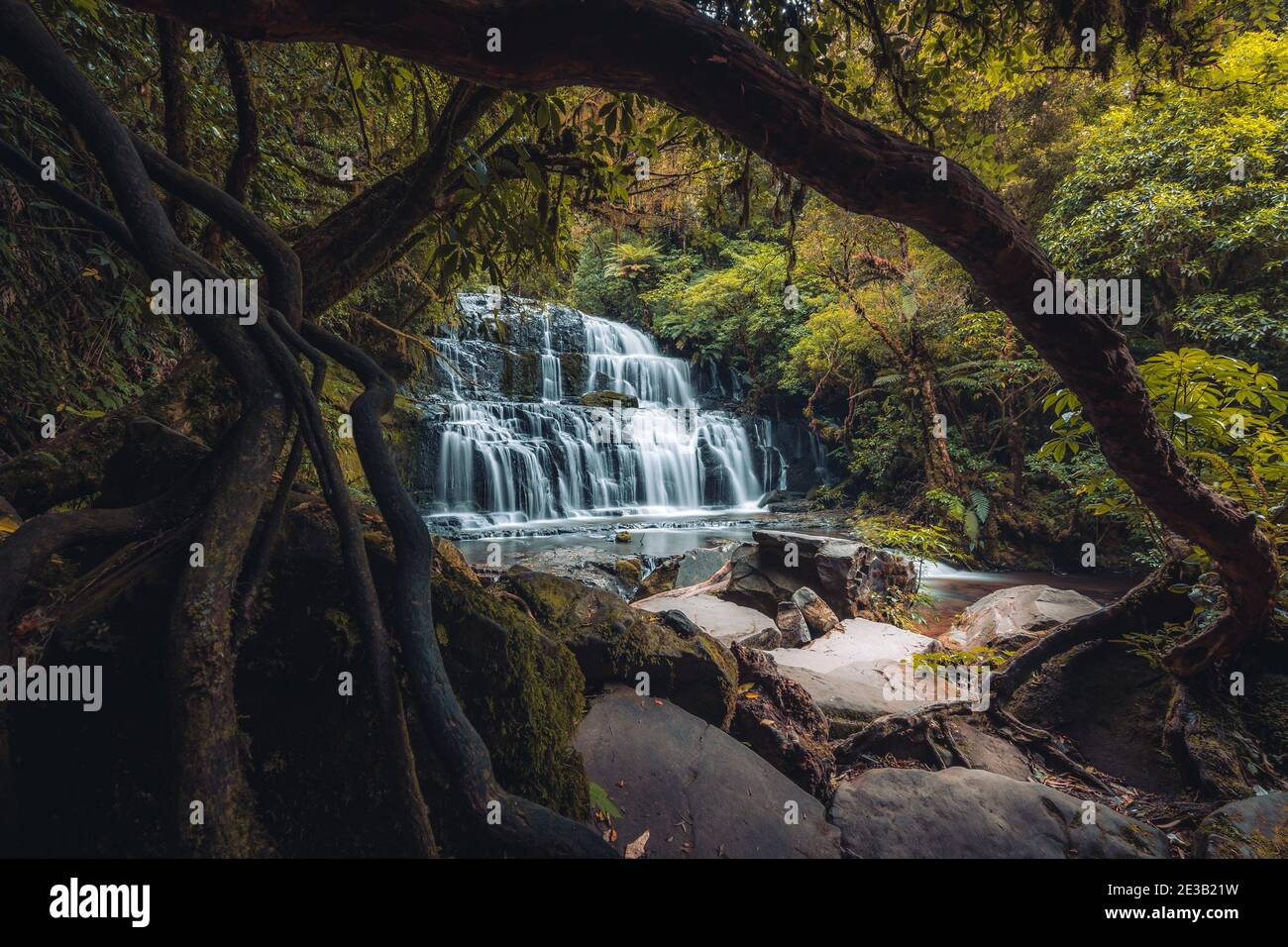 Purakaunui Falls, Catlins, Isla del Sur, Nueva Zelanda Foto de stock