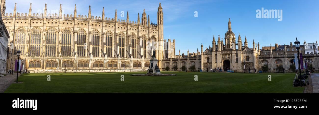 Vista panorámica del King's College Cambridge, fundado por el rey Enrique VI en 1441 Foto de stock