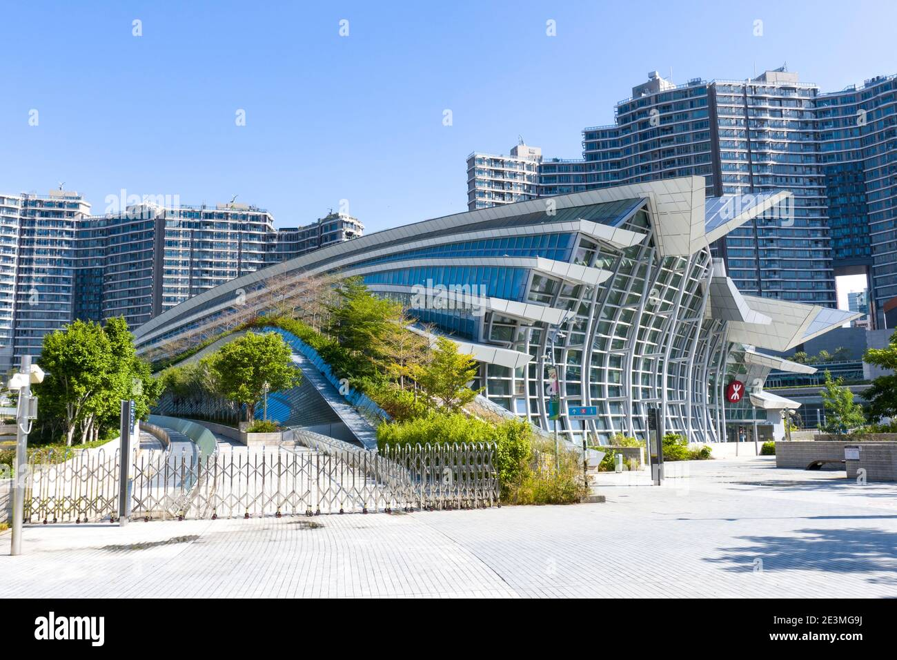 Hong Kong West Kowloon Station, el Terminus de Hong Kong, tiro medio, Vista a nivel de ojos Foto de stock