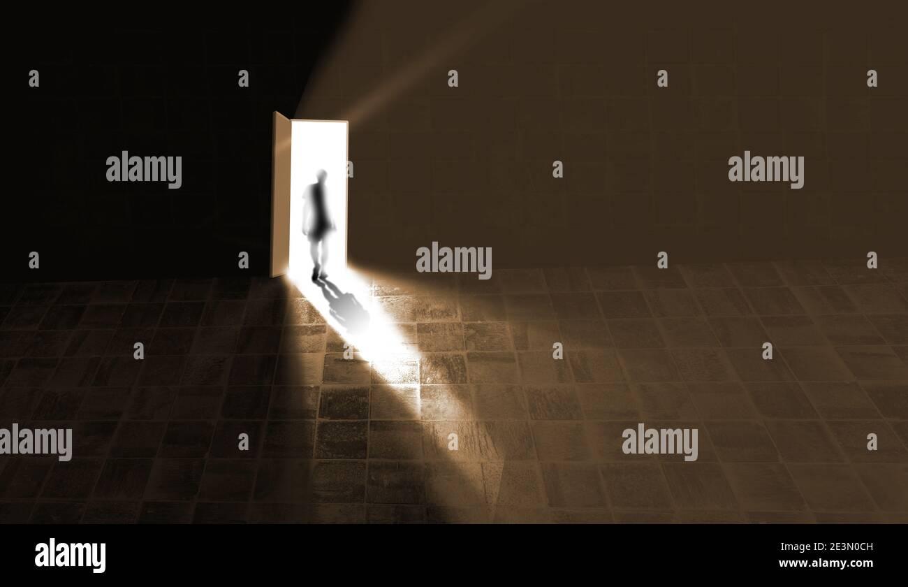 persona deprimida saliendo de una habitación oscura a través de una puerta abierta de luz, puerta del concepto de esperanza, terapia de depresión, concepto de puerta de psicología. Foto de stock