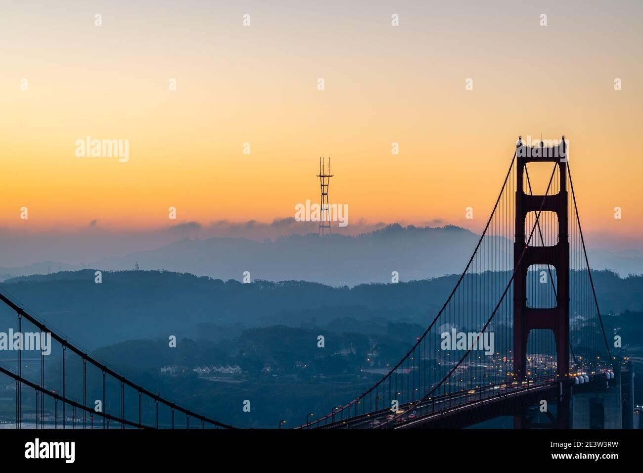 San Francisco Sunrise de Battery Spencer Foto de stock