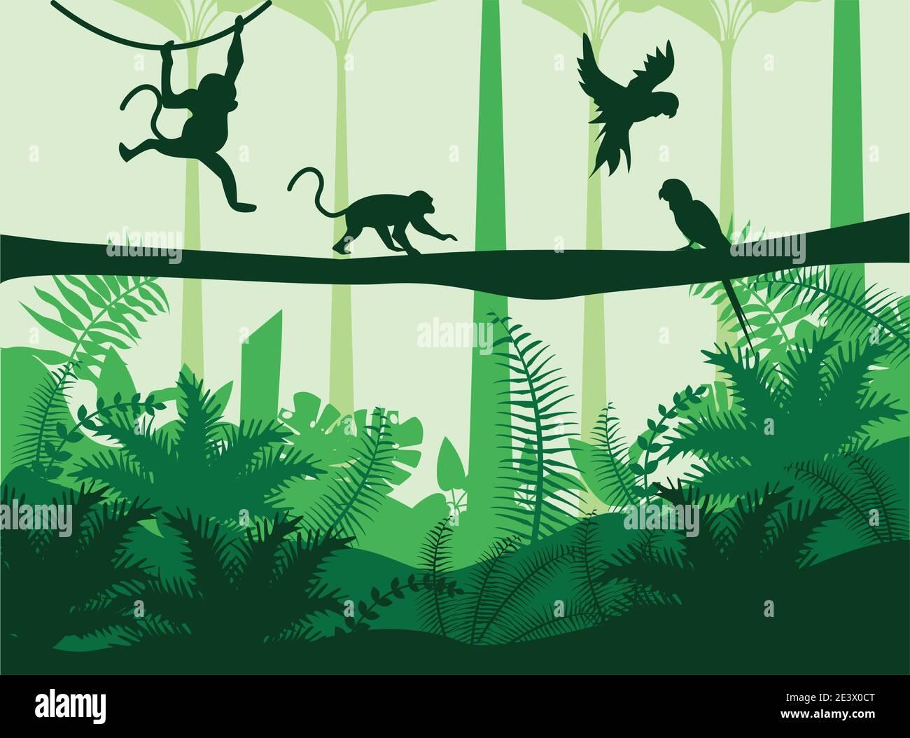 selva naturaleza salvaje verde paisaje de color verde con monos y loros diseño de ilustración vectorial de escena Ilustración del Vector