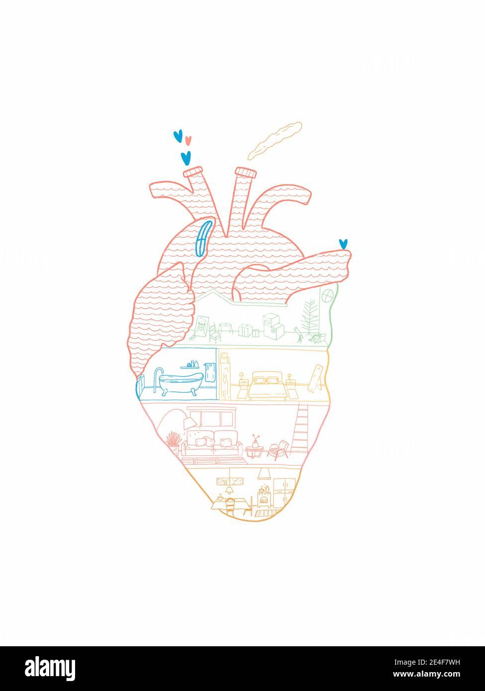 Dibujo a mano de una casa dentro de la forma del corazón Foto de stock
