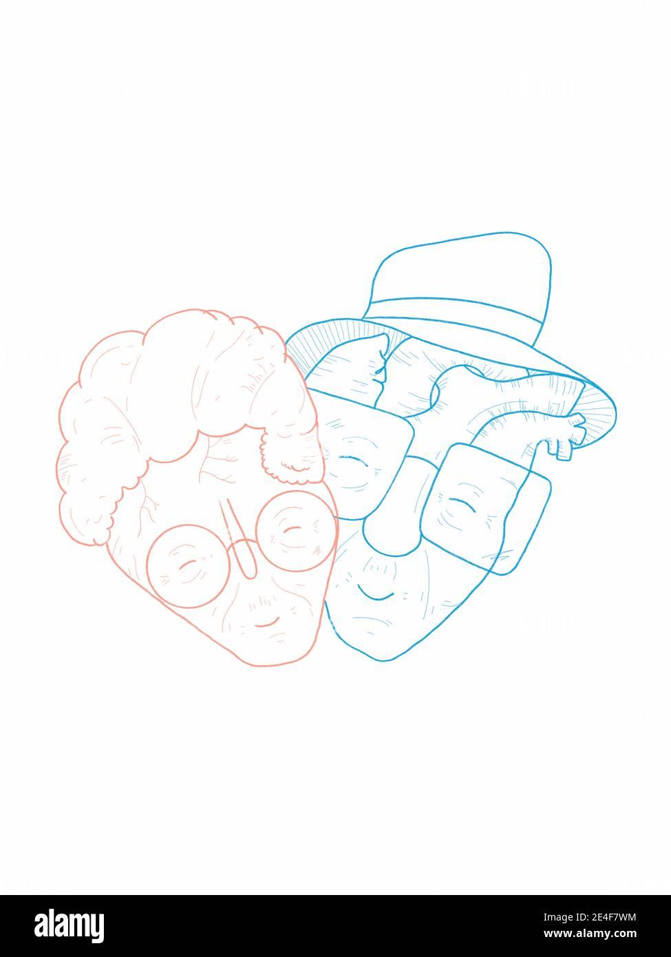 Dibujo a mano de una pareja encantadora y vieja de corazón y cerebro Foto de stock