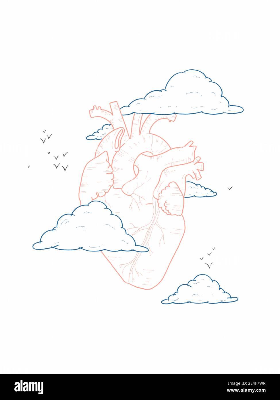 Dibujo a mano Ilustración de un corazón entre nubes - nuestro el corazón es nuestro sol Foto de stock