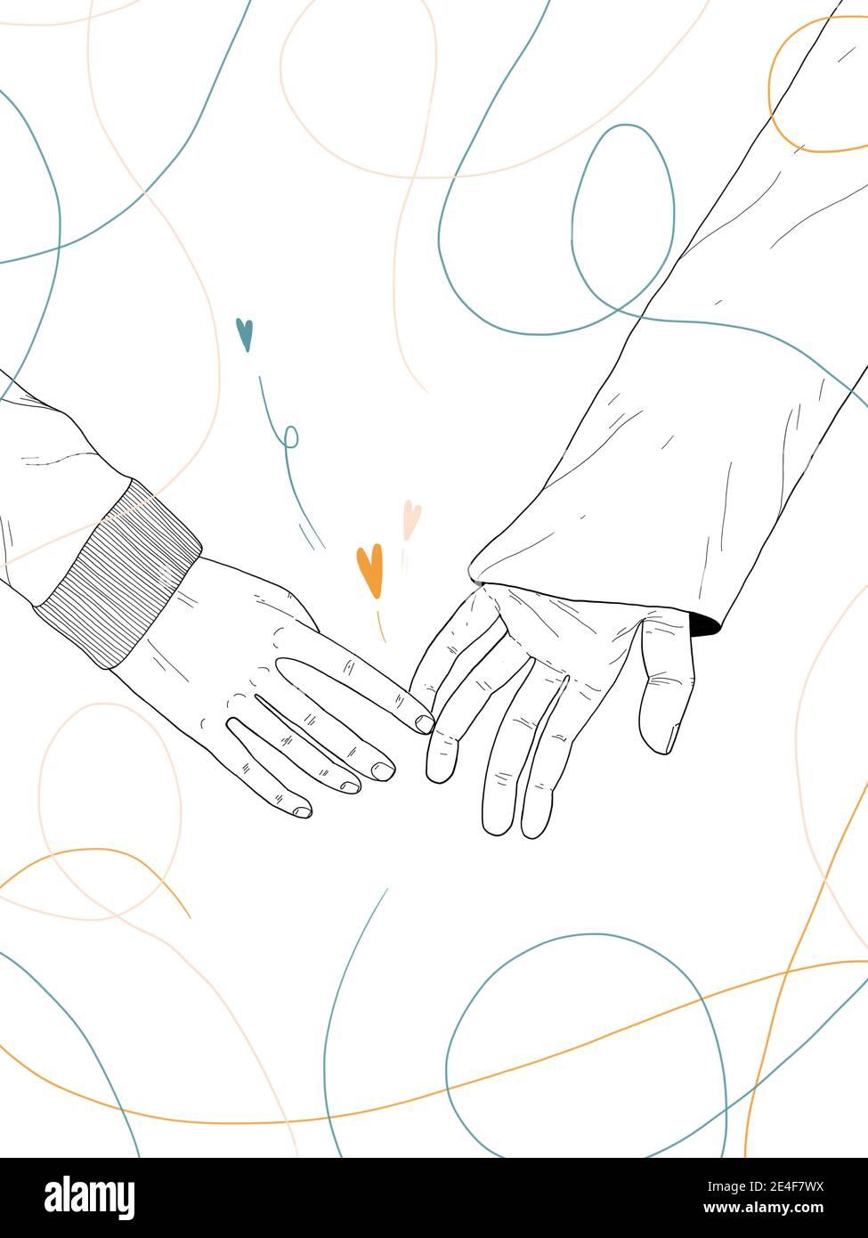 Dibujo de mano Ilustración de una pareja dando las manos sobre wehte antecedentes Foto de stock