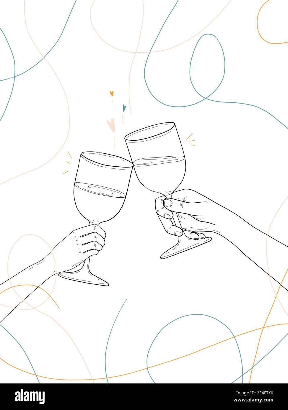 Dibujo a mano de dos personas celebrando con un copa de vino Foto de stock