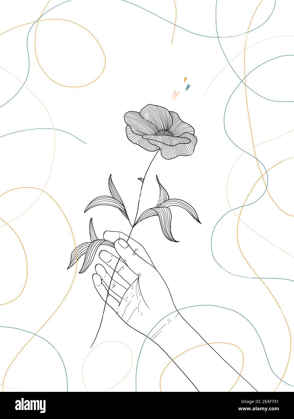 Dibujo a mano ilustración de una mano humana sosteniendo una flor Foto de stock