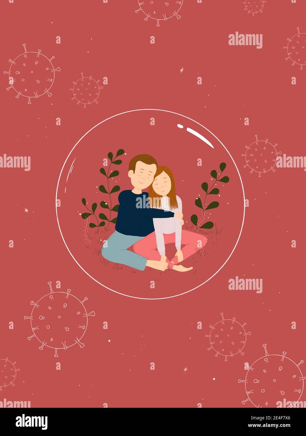 Ilustración de una pareja romántica dentro de una burbuja protectora. Día de San Valentín durante la pandemia del virus de la Corona Foto de stock