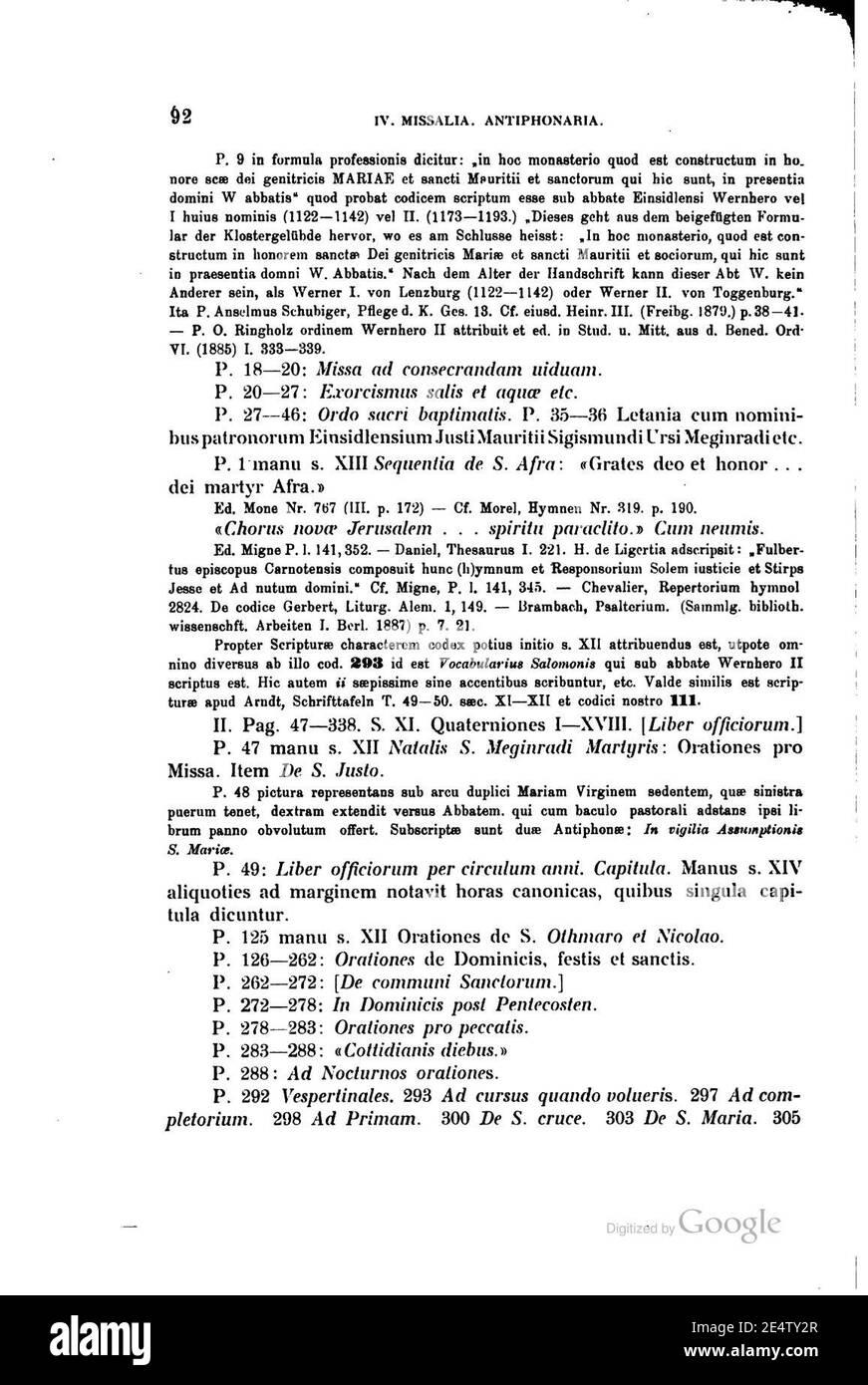 Meier Einsiedler Handschriftenkatalog 092. Foto de stock
