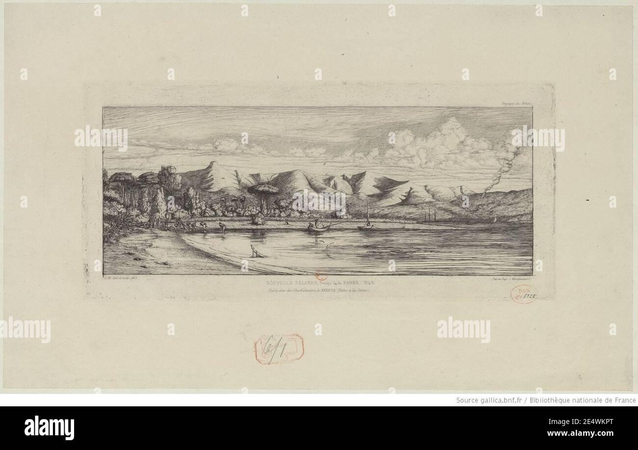 Meryon - Presqu'île de Banks, pointe des Charbonniers, Akaroa, btv1b550011402. Foto de stock