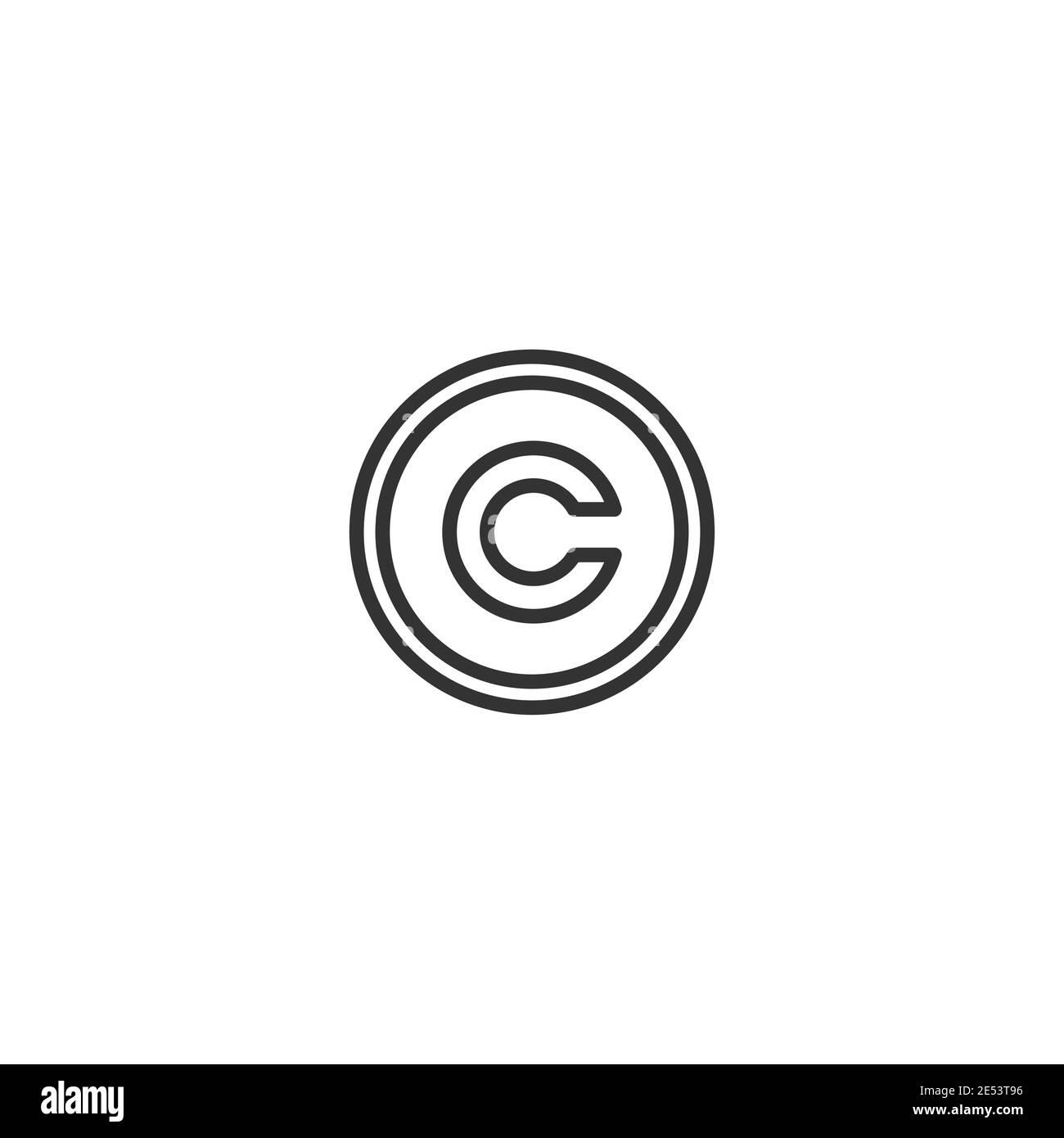 Vector de icono de copyright. Patente, Legal, signo de propiedad intelectual. Protección de autoría. Ilustración vectorial aislada sobre blanco Ilustración del Vector