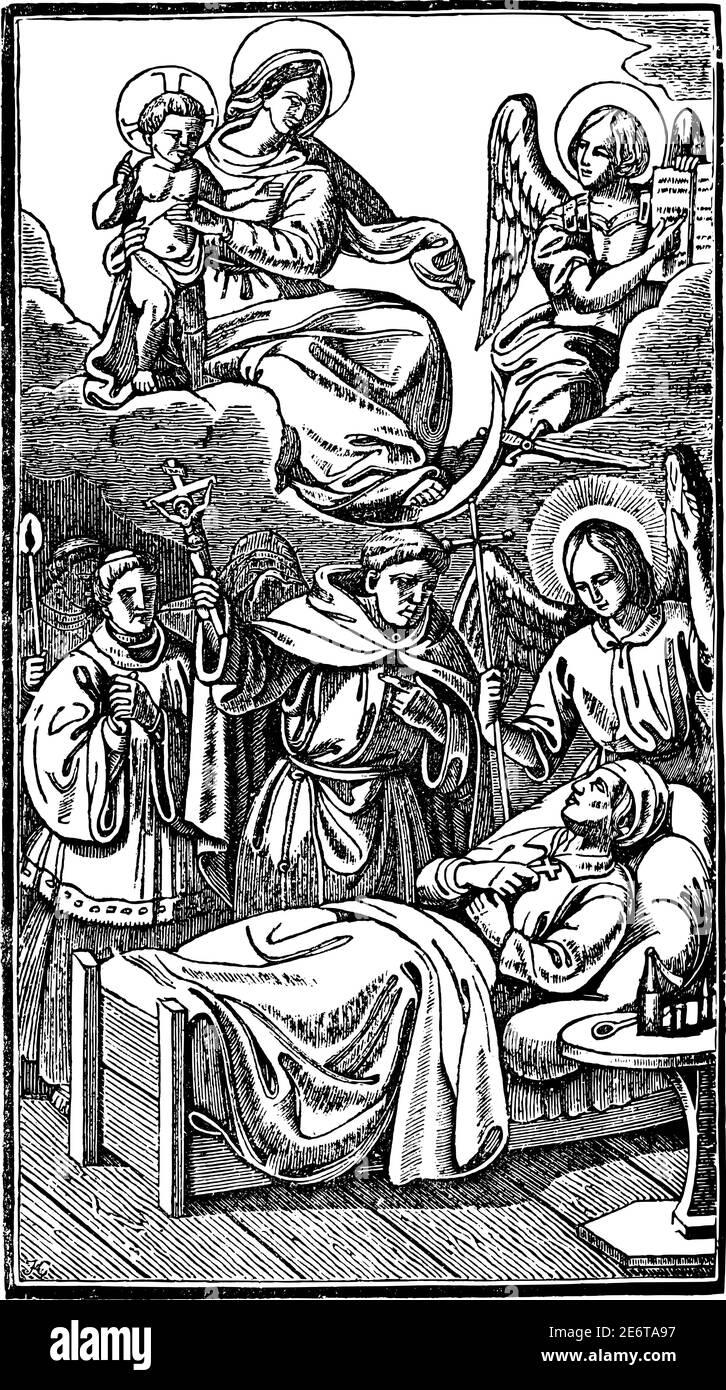 Sacerdote dando la última bendición al hombre moribundo o orando por su recuperación. Antiguo grabado religioso cristiano vintage o dibujo de ilustración. Ilustración del Vector