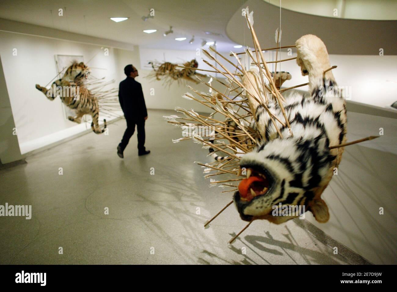 """Un visitante al Museo Guggenheim camina por la instalación """"inoportuna: Etapa dos"""" por el artista Cai Guo-Qiang en Nueva York, 21 de febrero de 2008. La pieza es parte de la exposición del artista Cai Guo-Qiang: Quiero creer. REUTERS/Keith Bedford (ESTADOS UNIDOS) Foto de stock"""