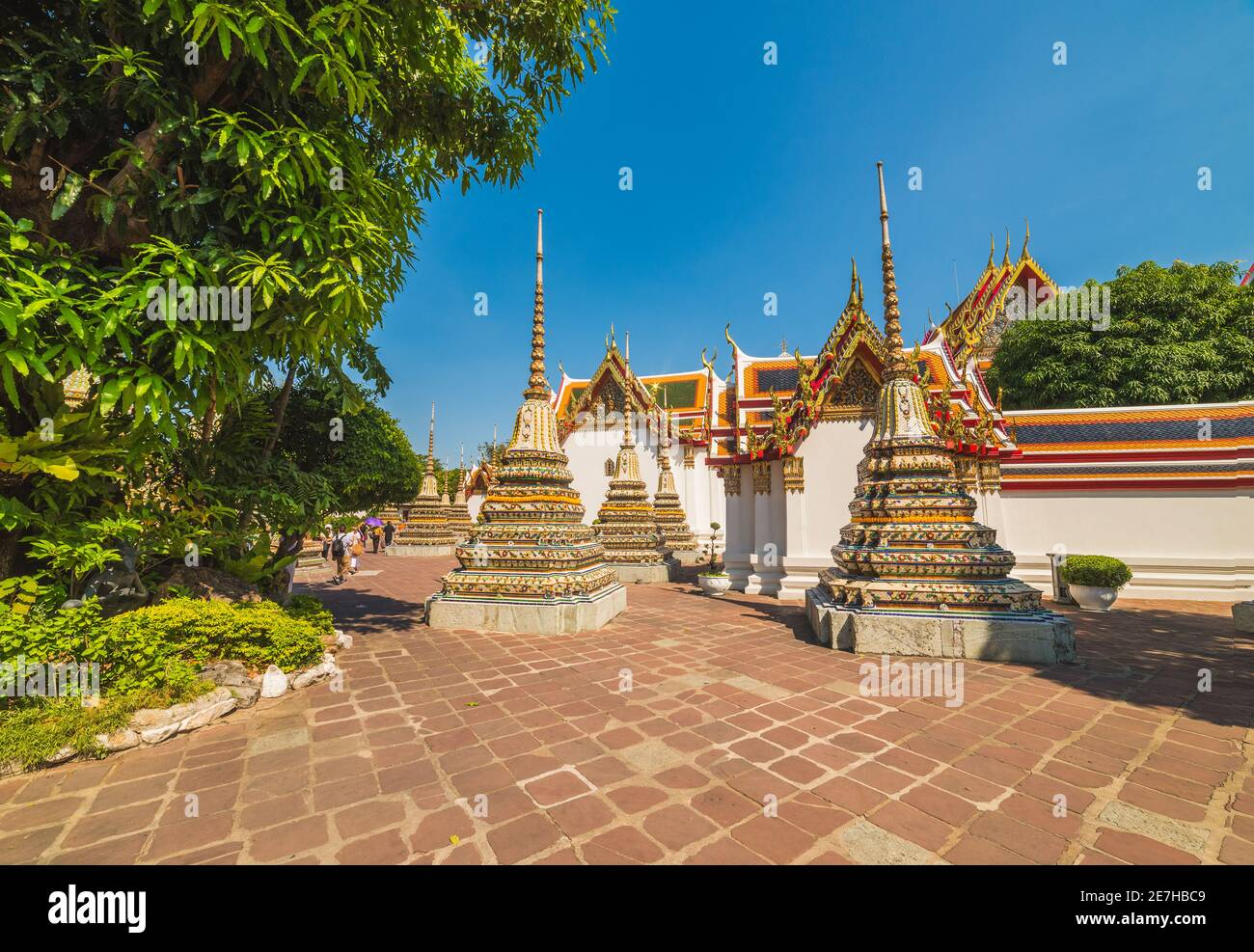 Wat Po (Wat Pho), Templo del Buda de la Rectinación, Monasterio Real, Atracciones turísticas populares en Bangkok, Tailandia. Foto de stock