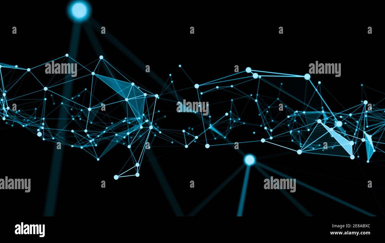 Ola de conexión red puntos de creación innovadora . Concepto de futuras redes informáticas de comunicación . Presentación 3D . Foto de stock