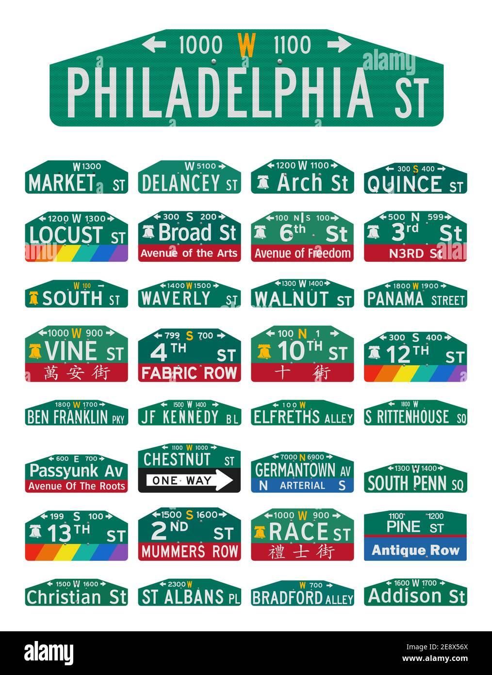Ilustración vectorial de las famosas calles y avenidas de Filadelfia señales Ilustración del Vector