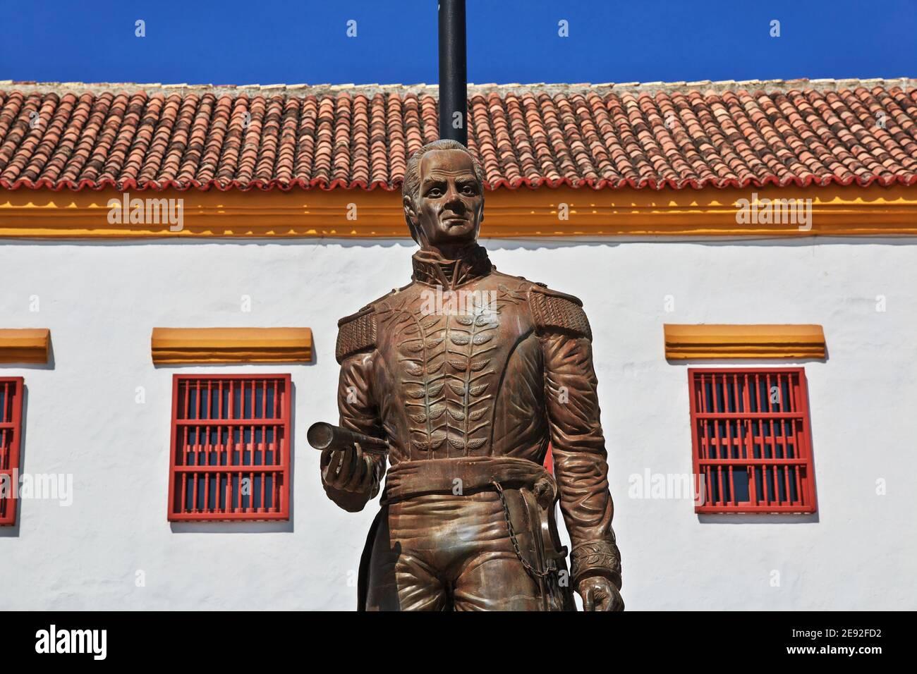 El monumento en Cartagena, Colombia Foto de stock