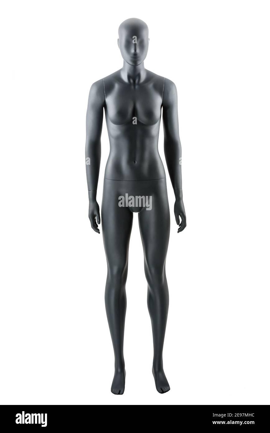Muñeca atlética femenina gris maniquí o tienda de exhibición ficticia aislado. Mujer gris ropa muñeca, musculoso construcción atlética, gran físico impresionante. De Foto de stock