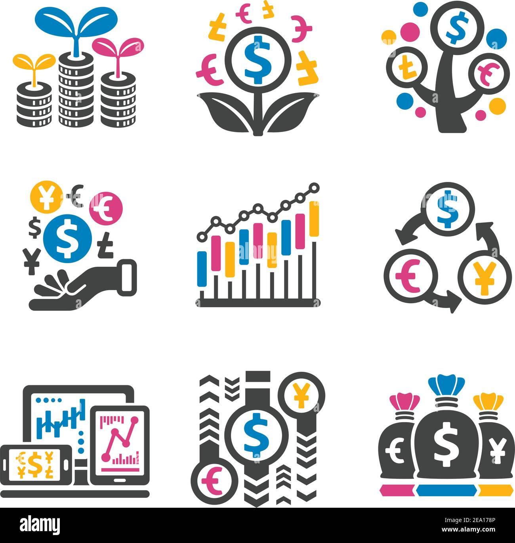 conjunto de iconos de inversión, finanzas Ilustración del Vector