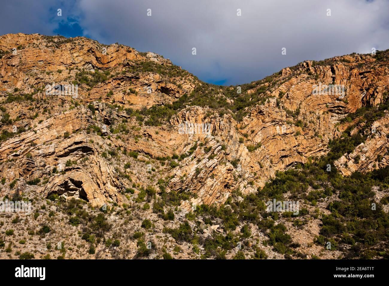 Formaciones rocosas, Baviaanskloof, Sudáfrica Foto de stock