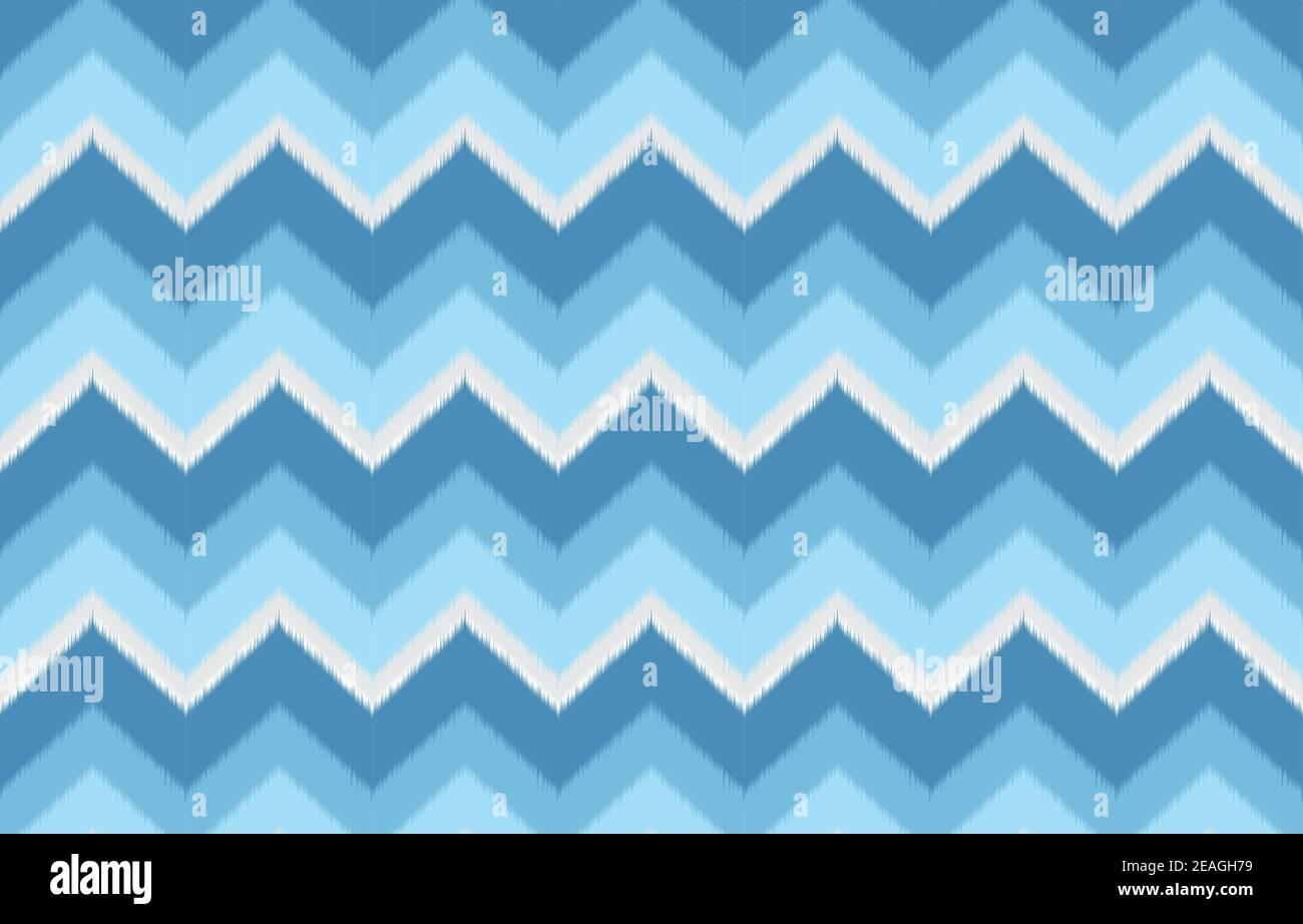 Patrón étnico en zigzag Ikat de color azul. Diseño para alfombras, papel pintado, ropa, envoltura, batik, tela, ilustración vectorial bordado estilo en Eth Ilustración del Vector