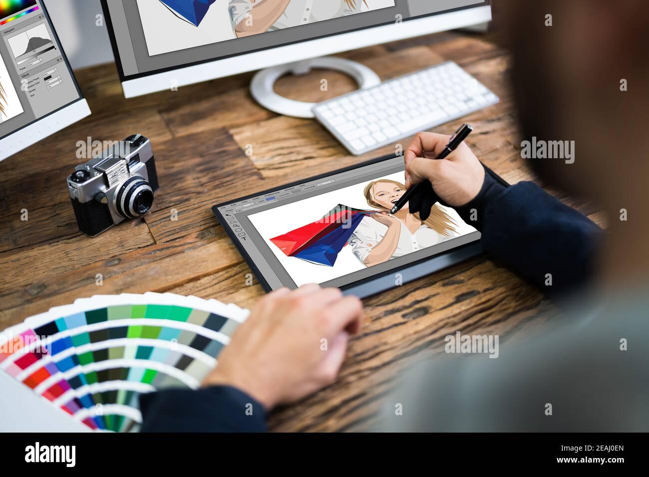 Croquis de dibujo de diseñador gráfico Foto de stock