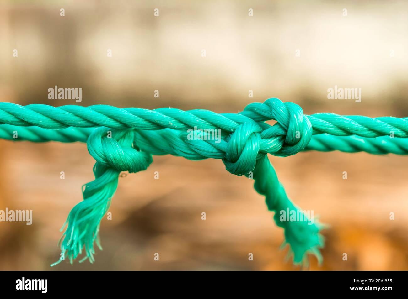 Cuerda nudo de amarre cierre. Cuerda con un nudo atado en el medio aislado del fondo. Un símbolo de confianza, fuerza, seguridad y apoyo a la fe y el concepto de unión. Fotografía conceptual ilustrativa Foto de stock