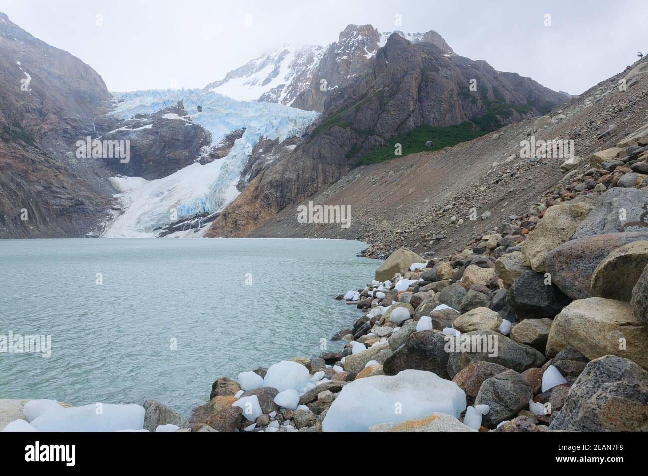 Vista al Glaciar Piedras Blancas, el Chalten, Patagonia Foto de stock