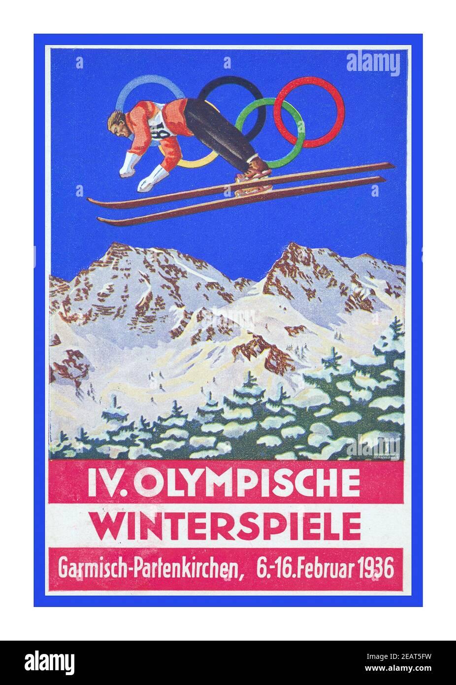 1936 Poster Vintage de los Juegos Olímpicos de Invierno, oficialmente conocido como los IV Juegos Olímpicos de Invierno, fue un evento multideportivo de invierno celebrado del 6 al 16 de febrero de 1936 en la ciudad de mercado de Garmisch-Partenkirchen en Baviera, Alemania. El país también fue anfitrión de las Olimpiadas de Verano de 1936, que se celebraron en la Alemania nazi de Berlín Foto de stock