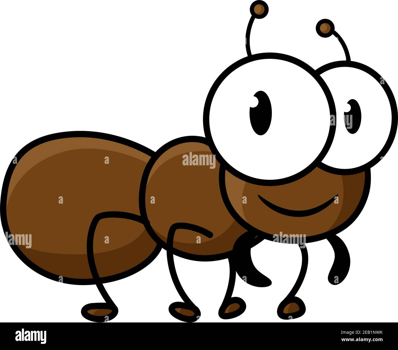 Lindo y pequeño personaje de dibujos animados de hormiga marrón con graciosas piernas cortas y antenas aisladas sobre fondo blanco para el diseño de decoración infantil Ilustración del Vector