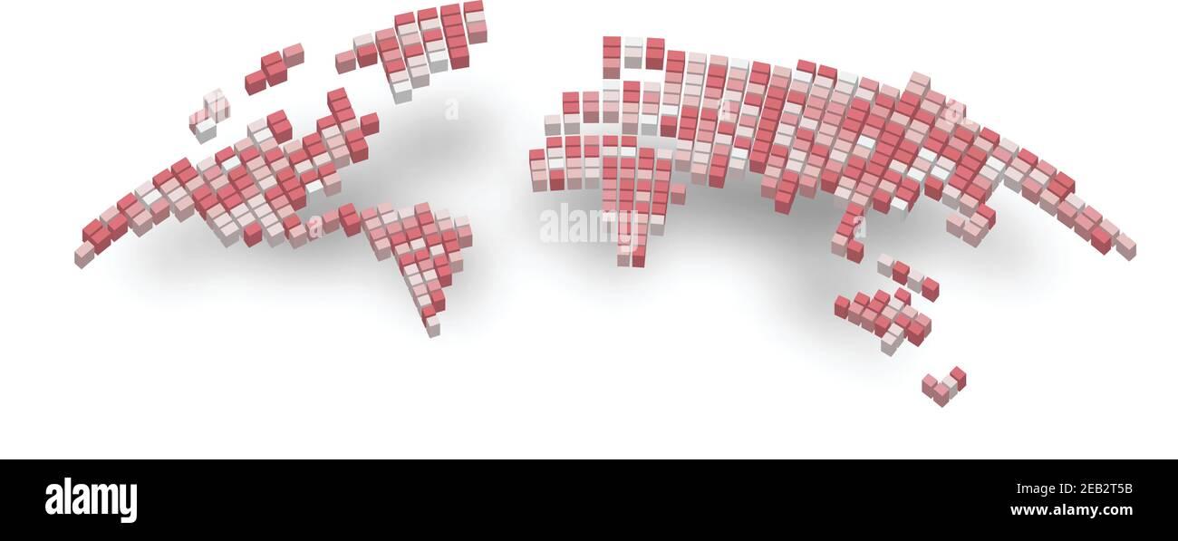 Mapa pixelizado de Mundo bamulando sobre fondo blanco. Ilustración del Vector