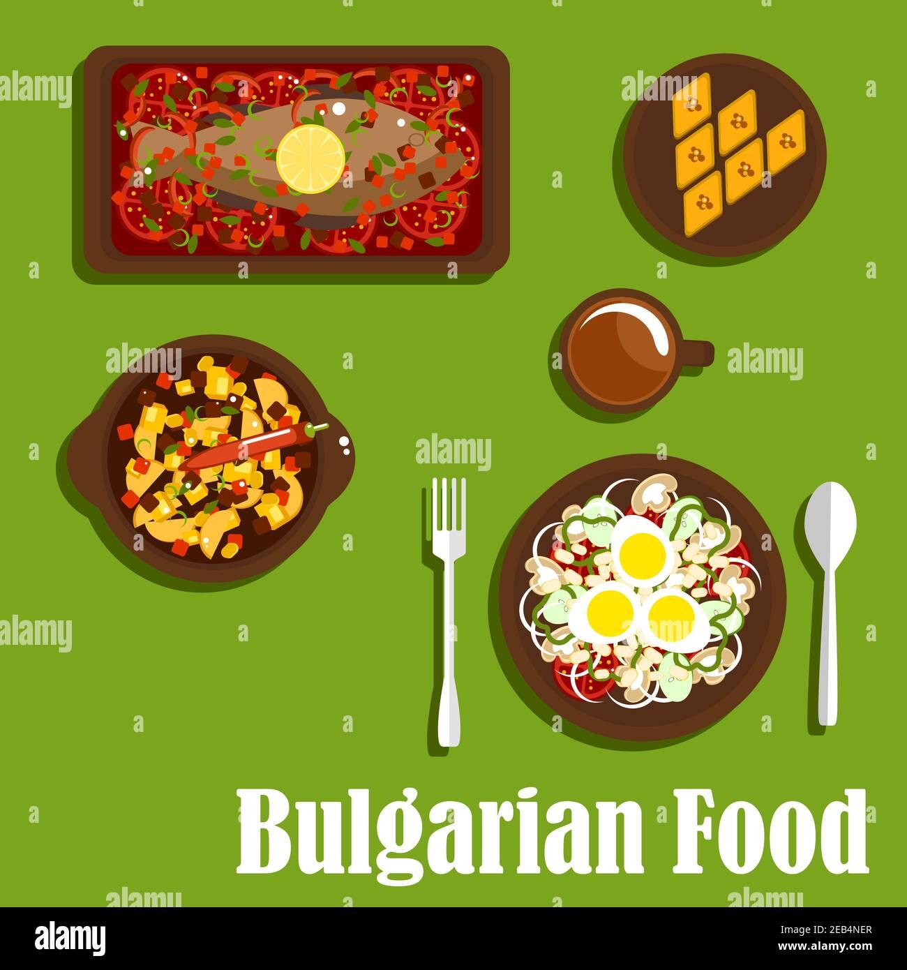 Deliciosa cena de cocina búlgara con ensalada vegetariana con tomate, cebolla, champiñones, pimienta, frijoles y huevos, estofado picante, carpa al horno con Ilustración del Vector