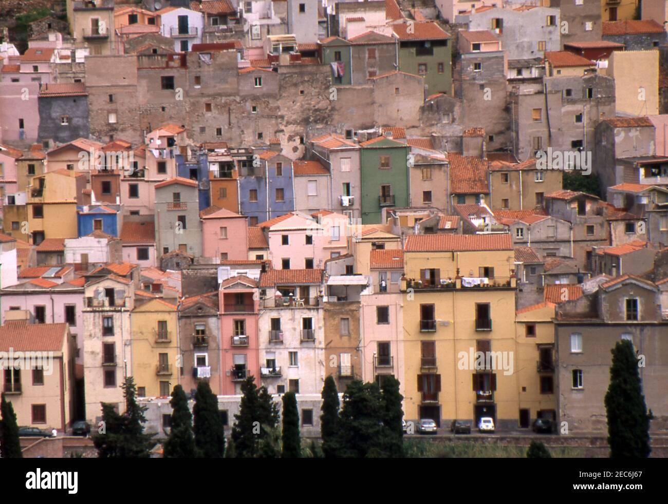 Bosa, Cerdeña, Italia (escaneado a partir de portaobjetos de color) Foto de stock