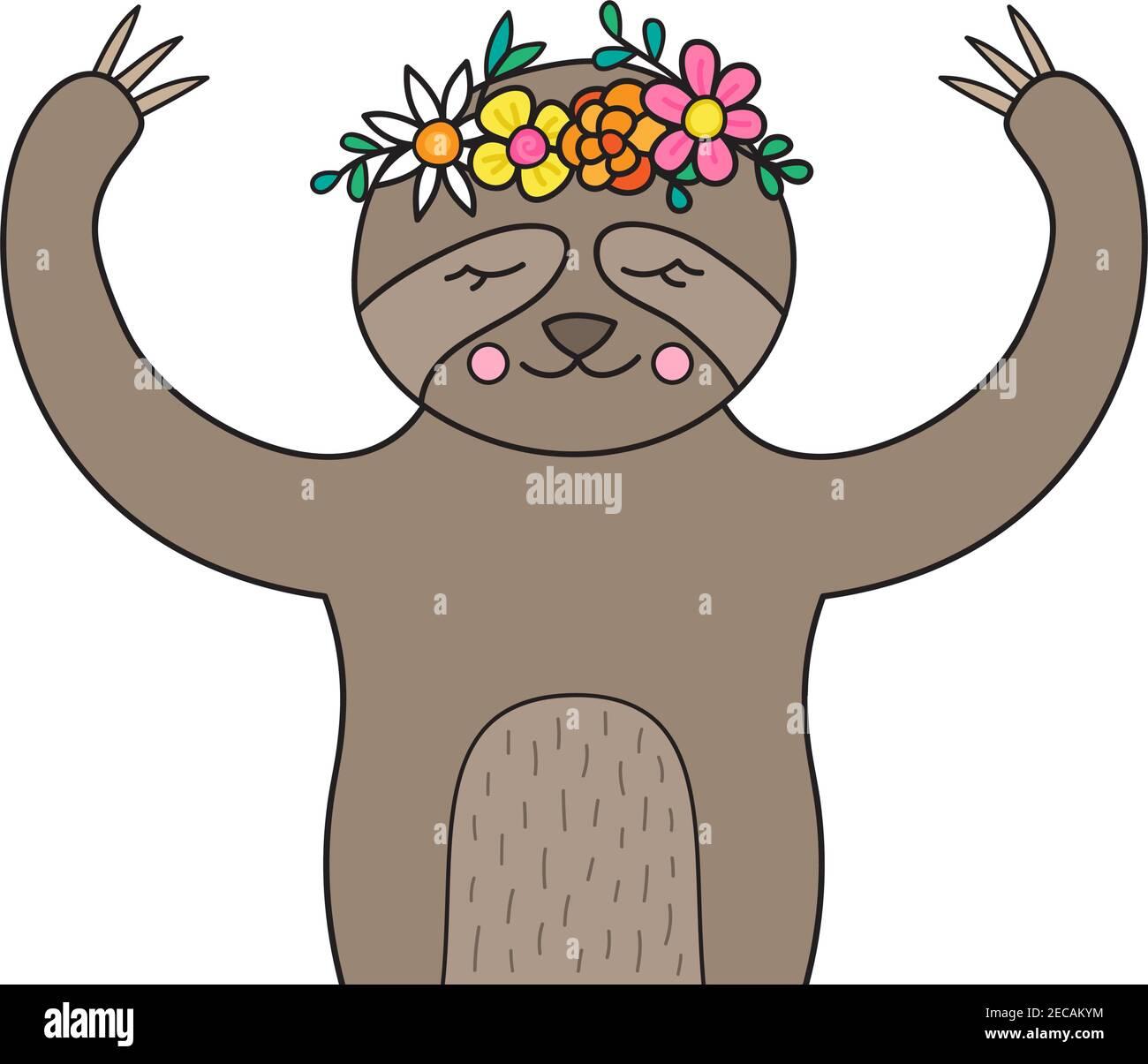 Linda ilustración de vector perezoso. Dibujado a mano bosquejado animal perezoso con corona de flores en la cabeza. Aislado. Ilustración del Vector