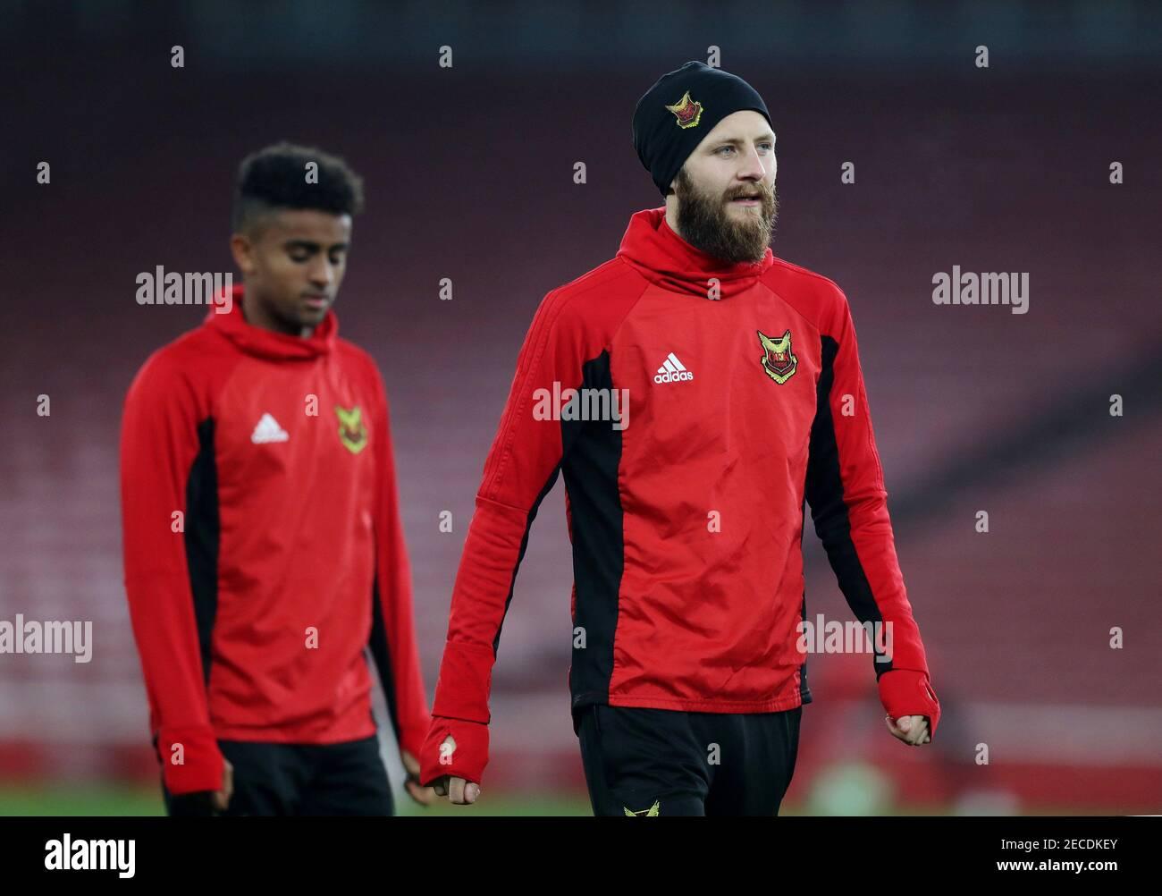 Fútbol - Liga Europea - Ostersunds FK Training - Emirates Stadium, Londres, Gran Bretaña - 21 de febrero de 2018 Ostersunds FK's Curtis Edwards durante el entrenamiento Action Images via Reuters/Peter Cziborra Foto de stock