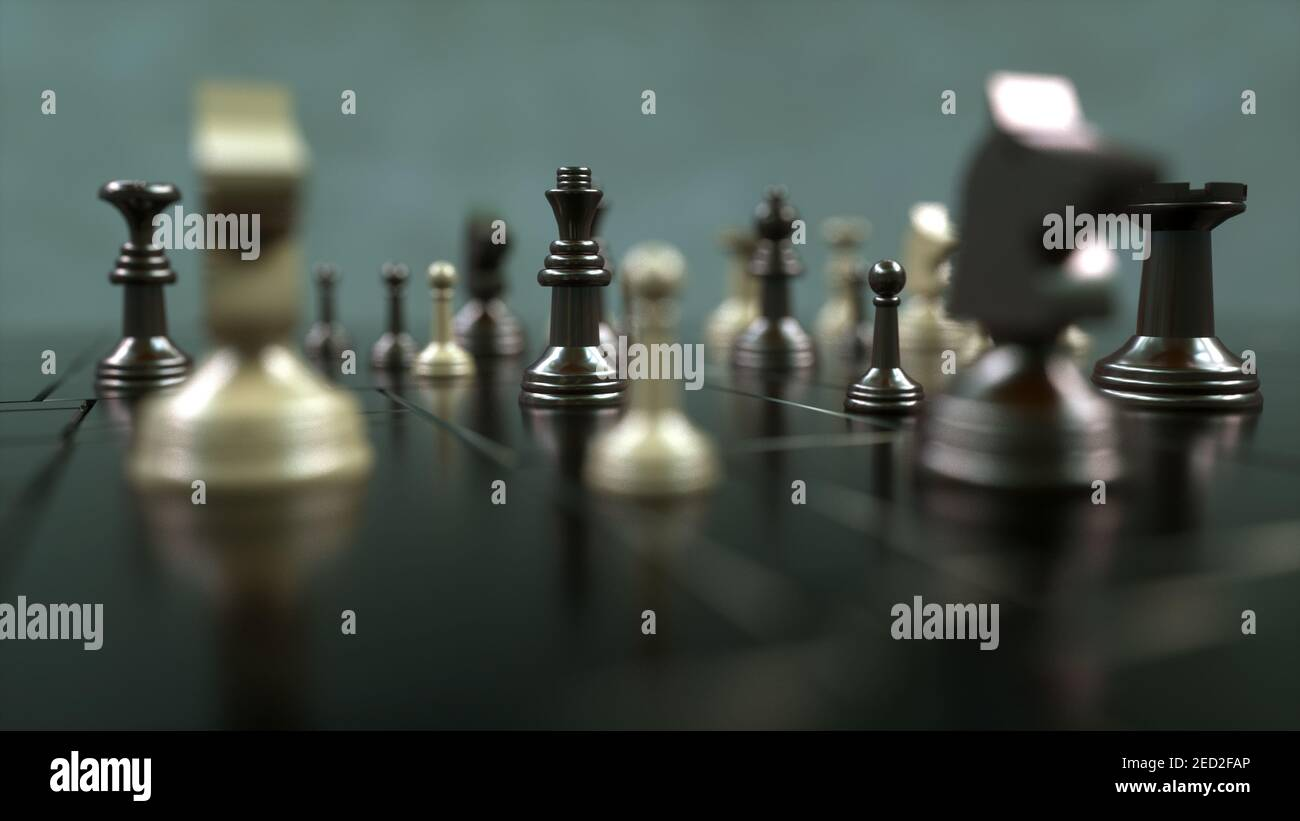 renderizar en 3d. Tablero de ajedrez y piezas Foto de stock